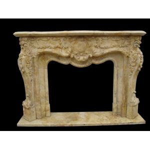 Healthy beige marble fireplace