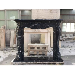 antique black decorative marble fireplace mantel