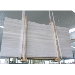 China  polished white wood veins marble slab
