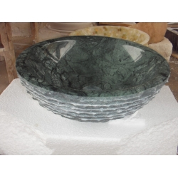 Green marble sink round shape basin rough surface sink