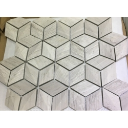 Hexagon Shape White Wood Marble Mosaic Tile